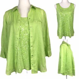 Chico's Neon Sequin Tank and Button Down 2-PC Set